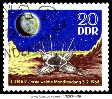 STAVROPOL RUSSIA - APRIL 30 2016: a stamp printed in GDR shows Luna 9 on Moon circa 1984