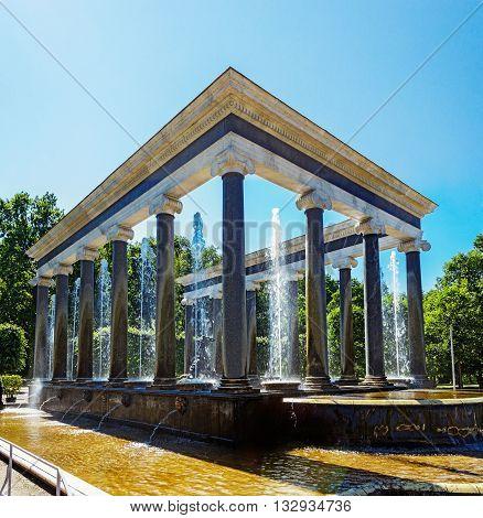 Lion cascade fountain in Peterhof park. Russia
