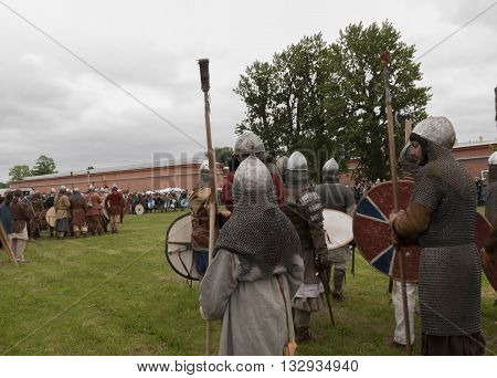 St-Petersburg, Russia - May 28, 2016: battle of the Vikings. Historical reenactment and festival on the walls of the fortress may 28 2016 in Saint Petersburg Russia