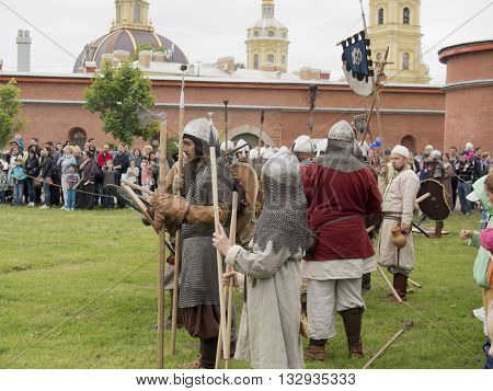 St-Petersburg, Russia - May 28, 2016: battle of the Vikings. Historical reenactment and festival may 28 2016 in Saint Petersburg Russia