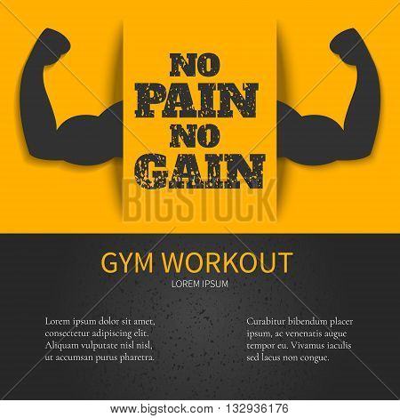 Gym workout design template with NO PAIN NO GAIN quote on yellow background and bicep muscle symbol. Bodybuilder arms sign. Weightlifting fitness symbol. Perfect for bodybuilding and fitness clubs.