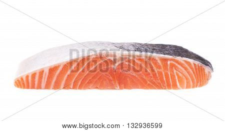 Steak of red fish on white background