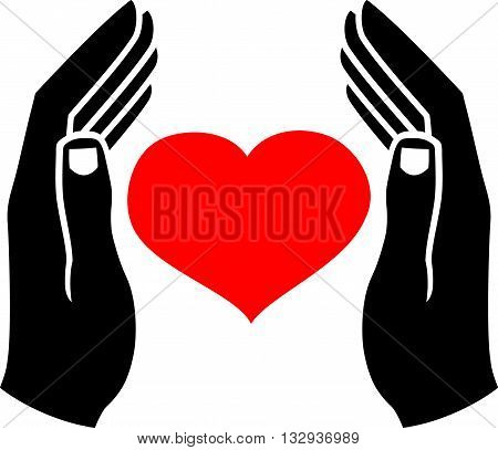 Human hands, which protect the heart. Vector