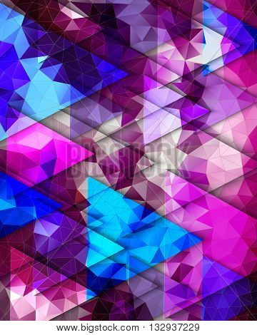 Bright multi-colored pattern of transparent triangles in blue, pink and purple colors.   Abstract geometric background. Polygon background suitable for the cover, poster, booklet, card, poster.