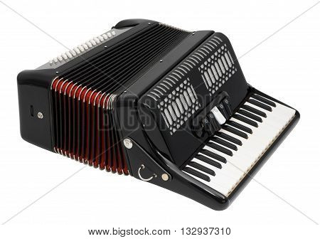 Black Accordion Isolated on a White Background