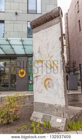 KIEV, UKRAINE - APRIL 18, 2015 Berlin Wall Piece Statue German Embassy Kiev Ukraine.