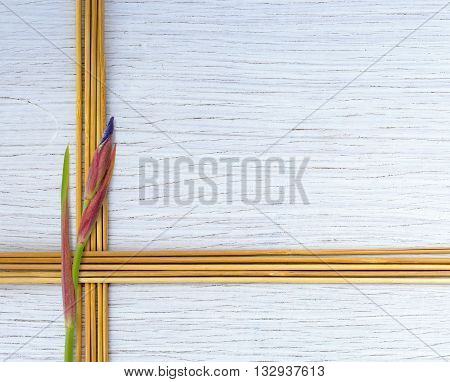Frame from bamboo sticks with iris flower on white wooden background