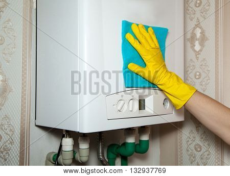 woman washing with cloth boiler hand closeup