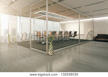 Creative conference room design behind glass doors with decorative vases wooden floor couch and city view. 3D Rendering