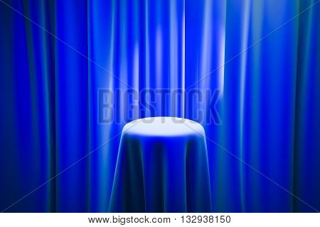 Blue magician's table with limelight and curtains in the background. Mock up 3D Rendering