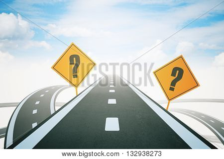 Success concept with question mark signs and highway road leading to bright sky. 3D Rendering