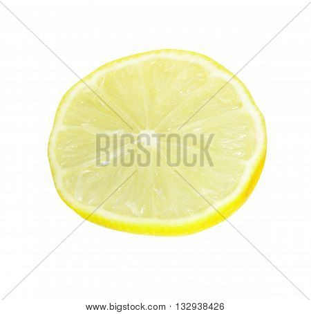 The cut-off lemon segment on a white background