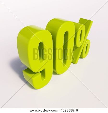 3d render: green 90 percent, percentage discount sign on white, 90%