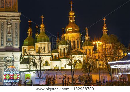 Saint Sophia Sofia Cathedral Spires Tower Golden Dome Sofiyskaya Square Kiev Ukraine. Saint Sophia is oldest Cathedral and Church in Kiev. Saint Sofia was built by King Yaroslov the Wise in 1037.