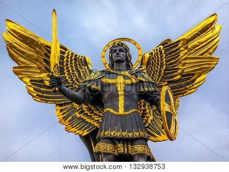 Laches Gate Saint Michael Statue Maidan Square Kiev Ukraine. Saint Michael is the patron saint of Kiev