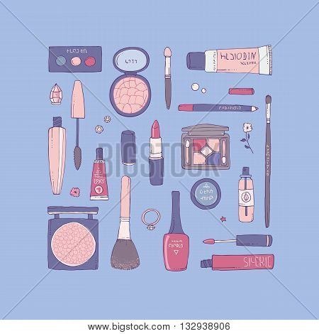 Hand drawn vector illustration of makeup and other cosmetics products. Lipstick, mascara, shadows and make-up brushes. Concept for fashion and beauty themes.