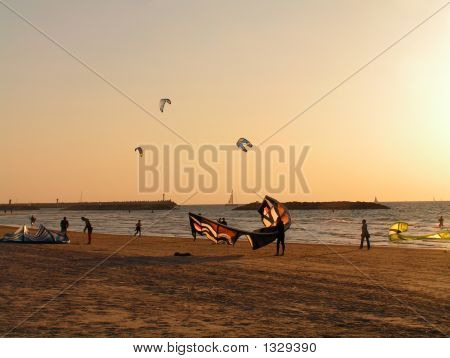 Man With Kite In The Sunset