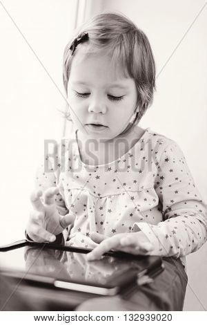 Girl Is Using Tablet Pc