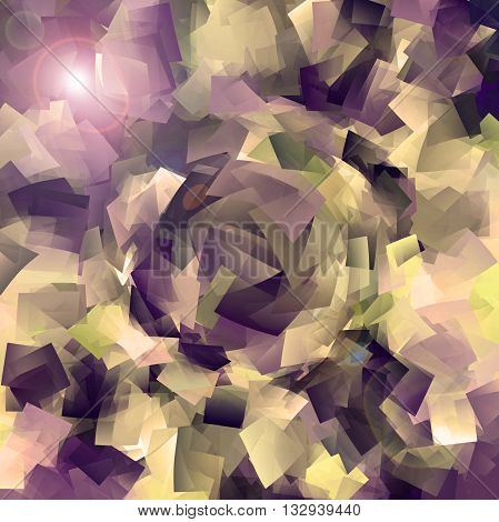Abstract coloring brushed aluminium gradients background with visual cubism,pinch and lens flare effects