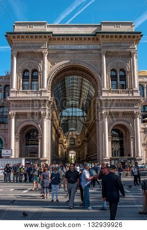 Milan Italy - May 25 2016: Galleria Vittorio Emanuele II. Entrance arch from the Duomo Square. The gallery was designed by the architect Giuseppe Mengoni in the 1865-1877 biennium.