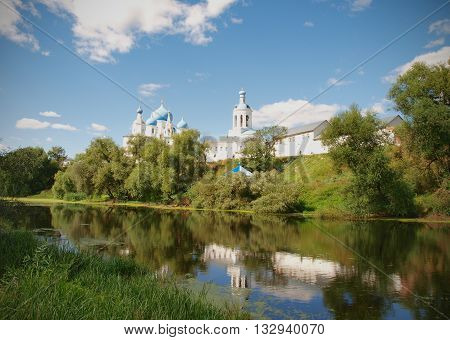 Landscape with the monastery and the lake in the village of Bogolyubovo about the city of Vladimir in Russia