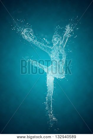 Abstract woman rhythmic gymnast in action. Crystal ice effect