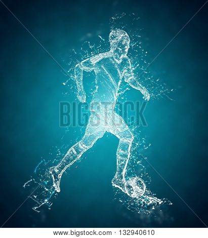 Abstract football (soccer) player controls a ball. Crystal ice effect