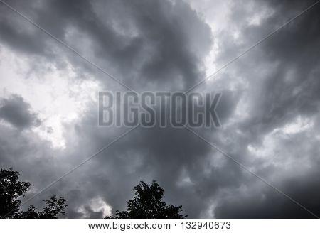 Dark thunderclouds over dark trees in summer