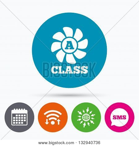 Wifi, Sms and calendar icons. A-class ventilation icon. Energy efficiency sign symbol. Go to web globe.