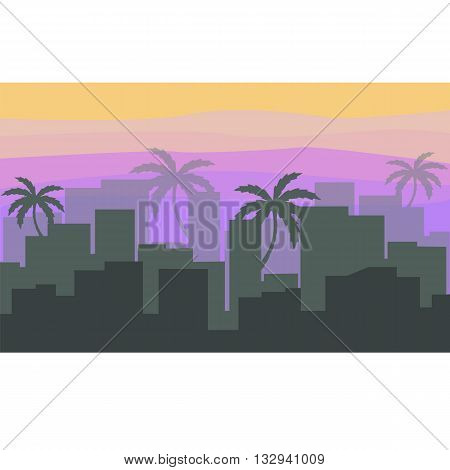 palm trees and the city on the horizon with the sunset and fog in the vector