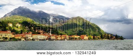 Lago di Como (Lake Como) Menaggio high definition panorama at golden hour