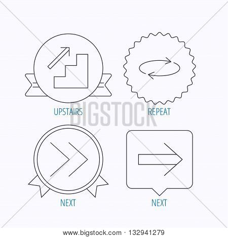 Arrows icons. Upstairs, next and repeat linear signs. Next arrow flat line icons. Award medal, star label and speech bubble designs. Vector