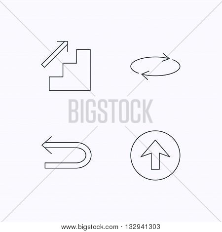 Arrows icons. Upload, repeat and shuffle linear signs. Upstairs, back arrow flat line icons. Flat linear icons on white background. Vector