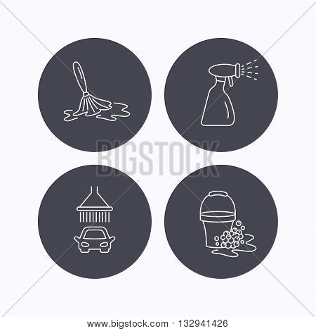 Car wash icons. Automatic cleaning station linear signs. Bucket with foam bubbles, spray flat line icons. Flat icons in circle buttons on white background. Vector
