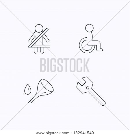 Wrench key, oil change and fasten seat belt icons. Disabled person linear sign. Flat linear icons on white background. Vector