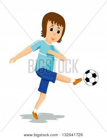 boy kicking ball soccer playing