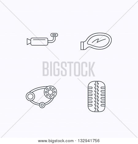 Tire tread, car mirror and timing belt icons. Muffler linear sign. Flat linear icons on white background. Vector