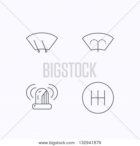 Manual gearbox, siren alarm and washing window icons. Windscreen wiper linear sign. Flat linear icons on white background. Vector