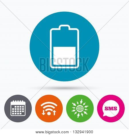 Wifi, Sms and calendar icons. Battery half level sign icon. Low electricity symbol. Go to web globe.