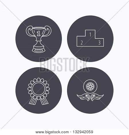 Winner cup, podium and award medal icons. Race symbol, wheel on fire linear signs. Flat icons in circle buttons on white background. Vector