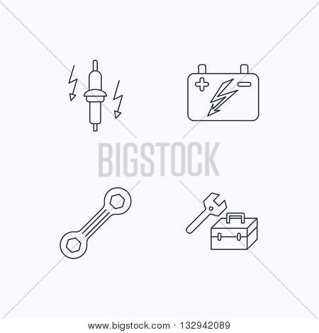 Accumulator, spanner tool and car service icons. Repair toolbox, spark plug linear signs. Flat linear icons on white background. Vector