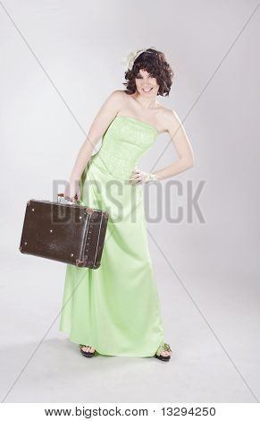 Beautiful Lady With Old Suitcase