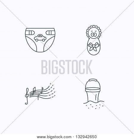 Diapers, newborn baby and songs for kids icons. Beach bucket linear sign. Flat linear icons on white background. Vector