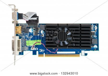 Computer graphics card isolated on white background with clipping path