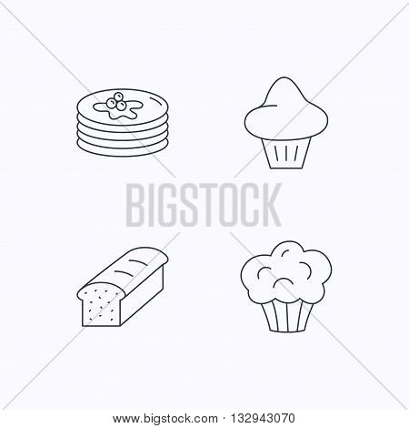 Pancakes, brioche muffin and toast bread icons. Cupcake linear sign. Flat linear icons on white background. Vector