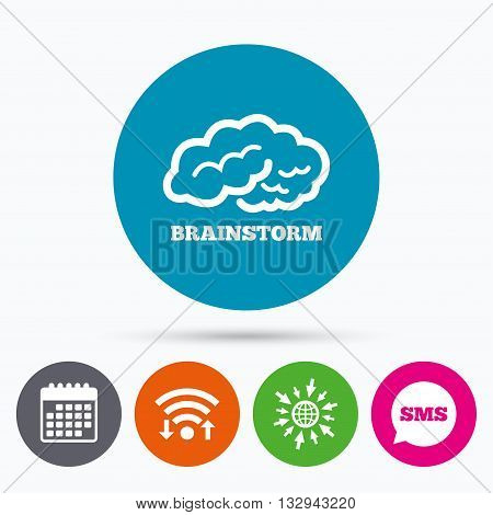 Wifi, Sms and calendar icons. Brainstorm sign icon. Human think intelligent smart mind. Go to web globe.