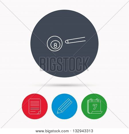 Billiard ball icon. Pool or snooker equipment sign. Cue sports symbol. Calendar, pencil or edit and document file signs. Vector