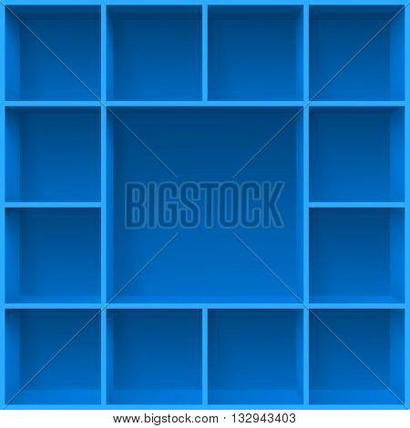 Blue bookshelves. Illustration for creative design template