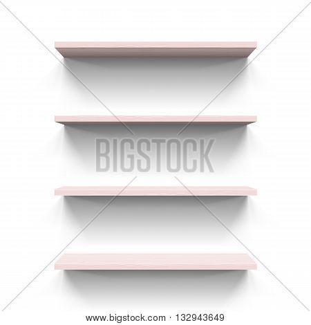 Four horizontal wooden bookshelves on the white wall