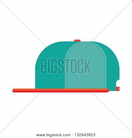 Rap cap template, vector illustration. Flat bill baseball cap.